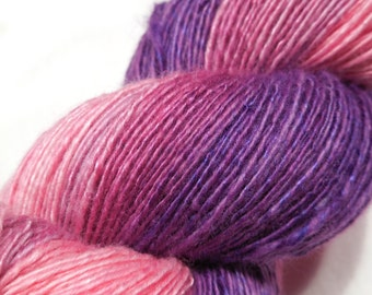 Handspun handpainted extra fine merino silk slightly thick and thin single ply yarn - 95g (3.4oz) - Tenderness