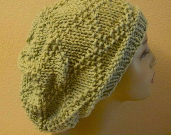 Hand Knitted Acrylic Frosty Green Diamond Brocade Stitch Slouchy Hat