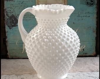 Fenton Milk Glass Hobnail Pitcher