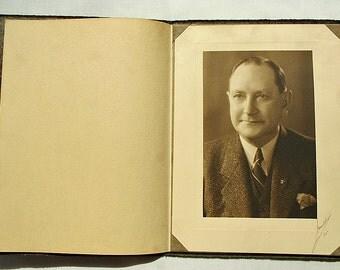 Signed 1930s Gentleman Studio Portrait in Folder with Photo Corners M. H. Mueller Newark Ohio
