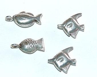 4 Thai Silver Fish Beads & Charms