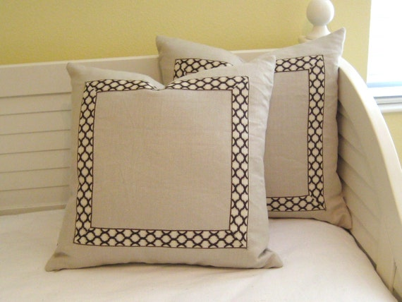 Cream Linen With Ogee Trim Tape 20 X 20 Designer Pillow Cover