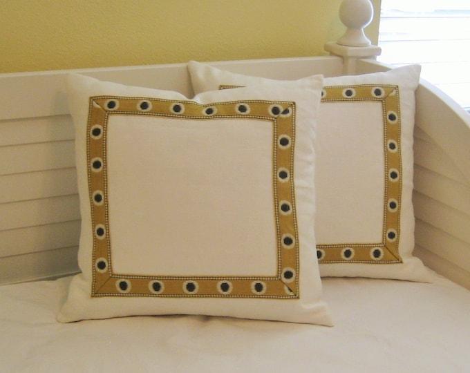 Ivory Linen with Golden and Gray Tape Trim  Designer Pillow Cover