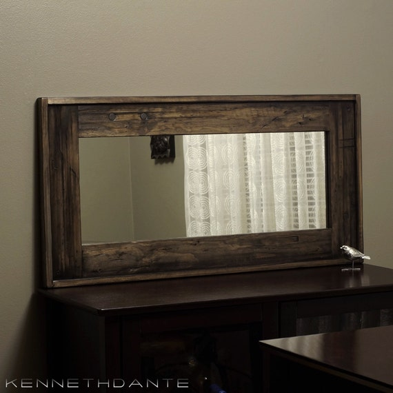 Decorative wood mirror distressed mantle long by kennethdante for Long thin decorative mirrors
