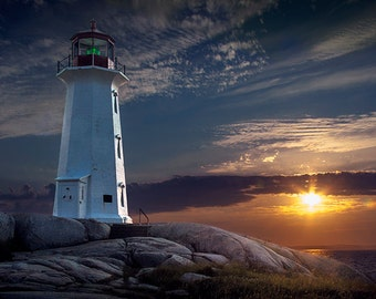 Sunset at the Lighthouse in Peggy's Cove Fishing Village in Nova Scotia Canada Near Halifax No.180 - A Seascape Lighthouse Photograph