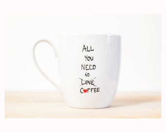 "Cup for coffee lover  Hand Painted Ceramic Coffee Mug Minimal Modern ""All you need is COFFEE"""