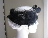 Black Lace Flowery Texture Fine Silks Stretch Headband