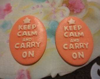 Keep calm and carry on cameo    Pink    2 pcs--USA seller