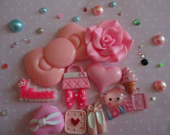 Kawaii girly pink resin cabochon craft decoden phone deco diy charm mix   12 pcs  359---USA seller
