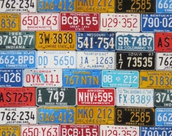 License Tag Print Pure Cotton Fabric from Timeless Treasures--One Yard