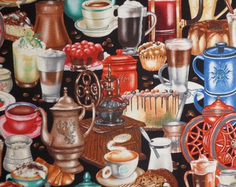 Colorful Packed Coffee Pots and Cups Print Pure Cotton Fabric--One Yard