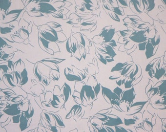 REMNANT--Dusty Teal Blue Floral Print Pure Cotton Faille Fabric--2.5 YardS