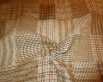 SPECIAL--Shades of Camel Woven Patchwork Plaid Linen Blend Fabric--One Yard
