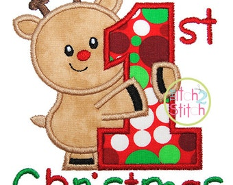 First Christmas Applique,  Sizes 4x4, 5x5, 6x6 & 7x7 INSTANT DOWNLOAD available