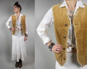 Vintage 1970s Corduroy Vest / 70s Vintage Boho Hippie Corduroy Faux Shearling Lined Vest by Pacific Trail Sportswear