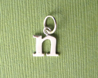 Sterling Silver Alphabet Letter n  Initial Charm in Typewriter Style