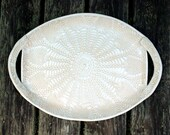 NEW!  XL Handmade Pottery Platter - White Lace- Ceramic Serving Tray