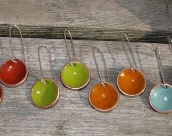 Torch fired Enamel Candy drop earrings, Colorful dangle earrings