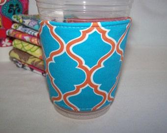 FREE SHIPPING --- Eco-Friendly Coffee/Tea Sleeve --- Turquoise Orange Latice