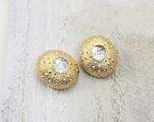 Kenneth J Lane 80s clip earrings.  Sea urchin rhinestone beauties.
