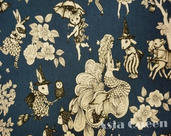 "Magic rabbit and cat and mermaid - 1 yard - cotton linen - dark blue color - Check out with code ""5YEAR"" to save 20% off"
