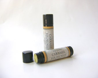 Caramel Hazelnut Lip Balm, Natural Beeswax Balm with Cocoa and Shea Butter