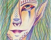4x6 Printed Postcard, Kelpie, Tribal Ethnic Art, Celtic Mythology, Norse Mythology, Fantasy Mystical