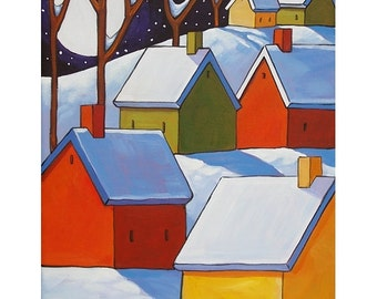PAINTING ORIGINAL by Cathy Horvath - Folk Art Modern Winter Moon Star Night Landscape Colorful Snow Cottages Acrylic on Canvas Artwork 11x14
