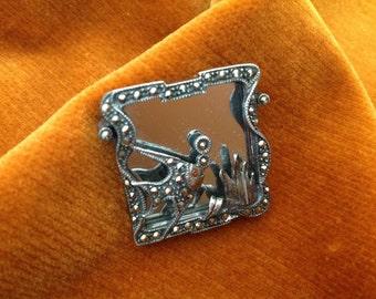 Square Mirrored Marcasite Pin