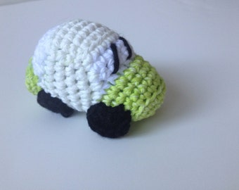 Green and white Crochet Race Car Amigurumi VW Bug