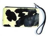 Pistachio and black print fur wristlet