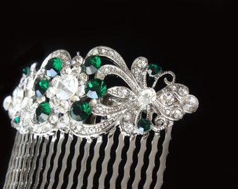 Emerald Hair Comb,Bridal Hair Comb,Green Bridal Sash,Emerald Wedding Jewelry,Green Bridal Jewelry,Wedding,Green Wedding Sash,Green Hair Comb
