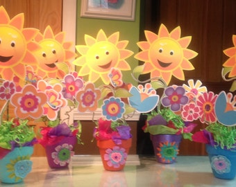 Paper Flower Centerpieces in Clay pots