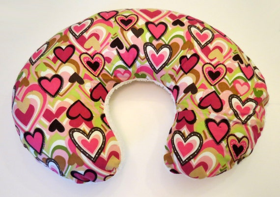 Boppy Nursing Pillow Reversible Cover Hearts In Pink Green