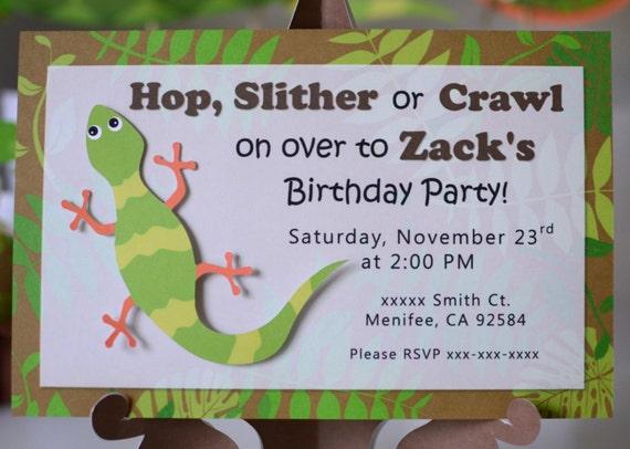 Reptile birthday party invitation lizard salamander gecko by bc il570xn filmwisefo