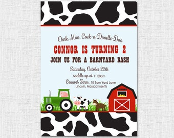 Cow Farm Barn Yard Invitation