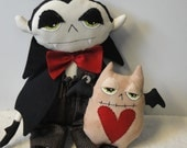Dracula  Bat Halloween Primitive Scary Monster Cloth Art Doll