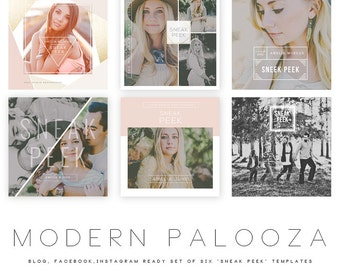 INSTANT DOWNLOAD  Modern Palooza Blog, Facebook and Instagram Sneak Peak Templates vol 2