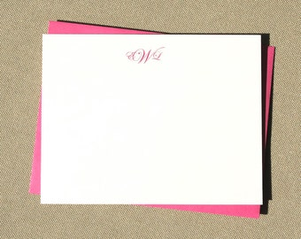 Personalized Stationery Cards with Fancy Script Monogram / Monogrammed Stationary Notecard Set