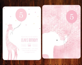 Chic Zoo invitations, double sided set of 15