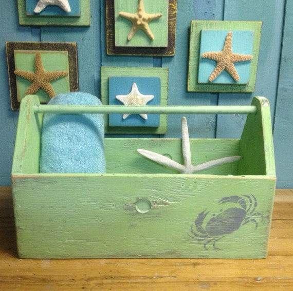 Beach Towel Wooden Crate | Handmade Decor Ideas For Decorating A Beach House