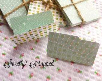 SALE ... 20 Polka Dot and Mint Mini Manila Folders, Small, Scrapbooking, Cardmaking, Doll House, Tiny, Embellishment, Mini Album