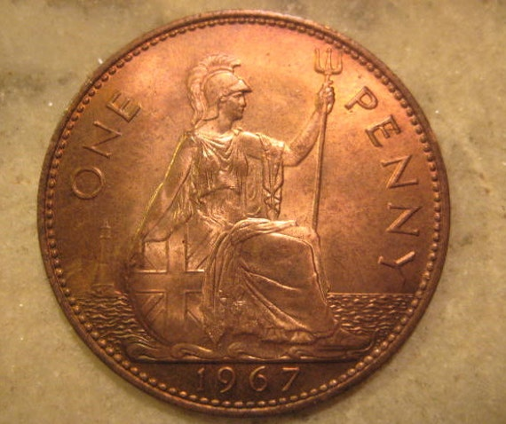 1967 United Kingdom British Coin Bronze One Penny Queen