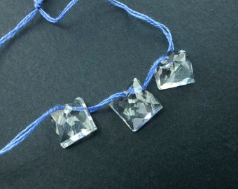 BLUE ToPAZ. Pale Blue. Square and Rectangular. DRiLLED. BEadS. 3 pc. 9.80 cts.  8 mm  (Bt329)