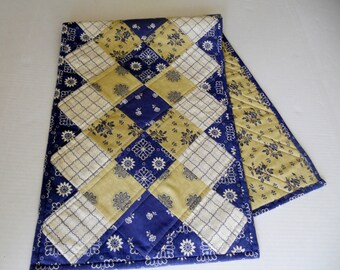 Modern Quilted Table Runner, Table Quilt, Quilted Table Topper, French Reproduction, Ombre, Navy Khaki Ivory