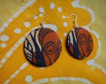 African Mask Wax Print Batik Fabric Earrings Tie Dye Hippie Boho