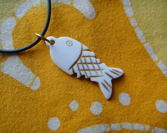 Carved Fish Tribal Pendant Necklace