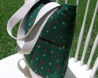 Large Tote Bag, Nautical,Vintage Villager Cotton Fabric  Preppy, Shopping, Electronics, Book Bag etc.