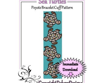 Bead Pattern Peyote(Bracelet Cuff)-Sea Turtle
