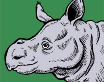 Baby Javan Rhino glass magnet